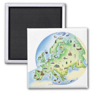 Karte von Europa mit Illustrationen von berühmtem Kühlschrankmagnete