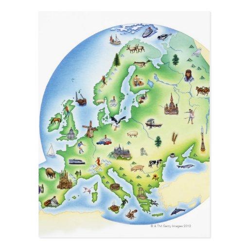 Karte von Europa mit Illustrationen von berühmtem Postkarten