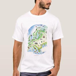 Karte von Europa mit Illustrationen von berühmtem T-Shirt