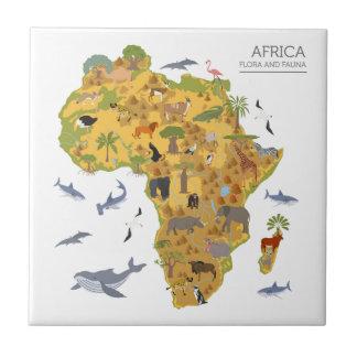 Karte von Flora u. von Fauna Afrikas | Keramikfliese
