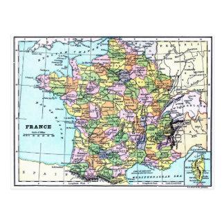 Karte von Frankreich - Postkarte