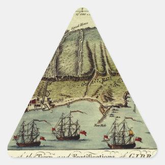 Karte von Gibraltar 1765 Dreieckiger Aufkleber