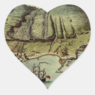 Karte von Gibraltar 1765 Herz-Aufkleber