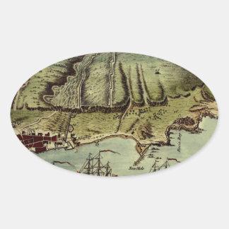 Karte von Gibraltar 1765 Ovaler Aufkleber