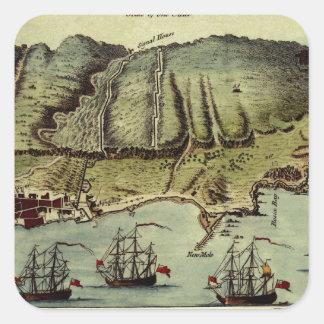 Karte von Gibraltar 1765 Quadratischer Aufkleber