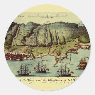 Karte von Gibraltar 1765 Runder Aufkleber