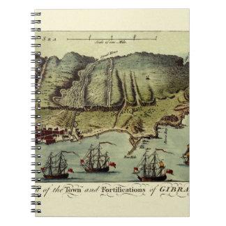 Karte von Gibraltar 1765 Spiral Notizblock
