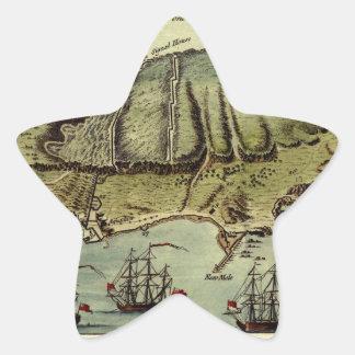 Karte von Gibraltar 1765 Stern-Aufkleber
