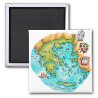 Karte von Griechenland-Inseln Quadratischer Magnet