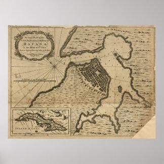 Karte von Havana, Kuba (1762) Poster