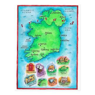 Karte von Irland Postkarten