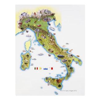 Karte von Italien Postkarte