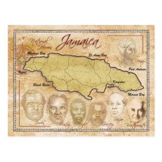Karte von Jamaika mit Nationalhelden Postkarten
