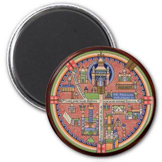 Karte von Jerusalem-Magneten Runder Magnet 5,7 Cm