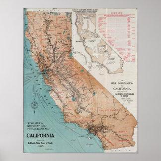 Karte von Kalifornien Poster