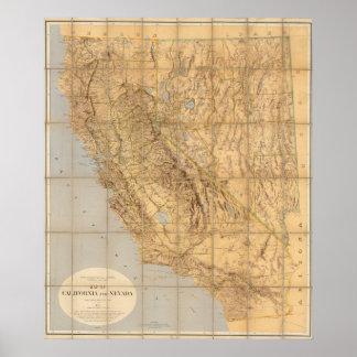 Karte von Kalifornien und von Nevada Poster