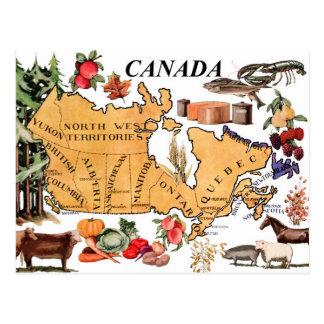 Karte von Kanada und von verschiedenen Repräsentat Postkarte