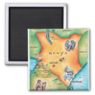 Karte von Kenia Quadratischer Magnet
