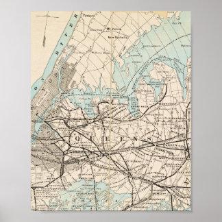 Karte von Königen, Queens, Long Island Poster