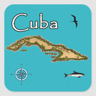 Karte von Kuba (Vintag) Quadratischer Aufkleber