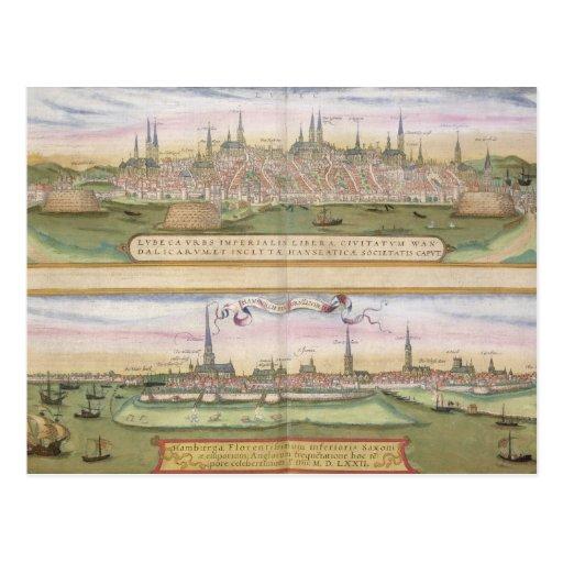 Karte von Lübeck und von Hamburg, von 'Civitates O Postkarte