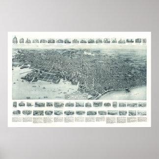 Karte von Lynn, Massachusetts ab 1916 Poster