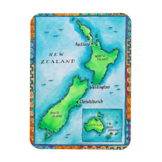 Karte von Neuseeland 2 Eckiger Magnet