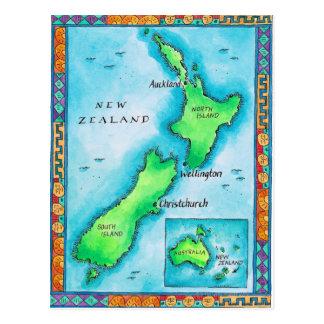Karte von Neuseeland Postkarten