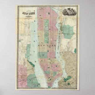 Karte von New York und von Nähe Poster