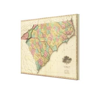 Karte von Nord-Südcarolina Gespannte Galerie Drucke