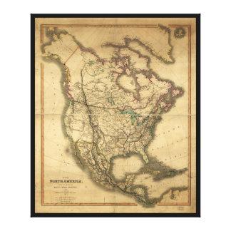 Karte von Nordamerika (1849) Leinwanddruck