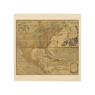 Karte von Nordamerika durch Emanuel Bowen (1755) Holzwanddeko