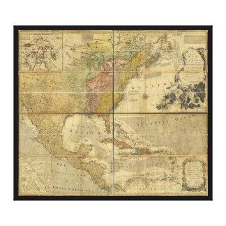 Karte von Nordamerika durch Emanuel Bowen (1755) Leinwanddruck
