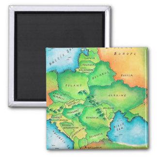Karte von Osteuropa Quadratischer Magnet