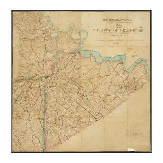 Karte von Petersburg Virginia (1864) Leinwanddruck