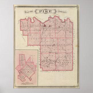 Karte von Pike County mit Plan von Petersburg Poster