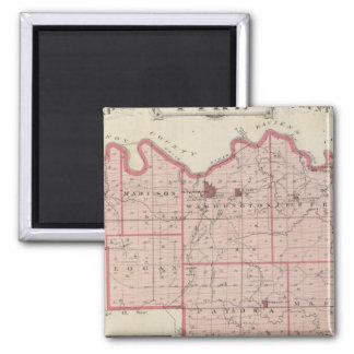 Karte von Pike County mit Plan von Petersburg Quadratischer Magnet