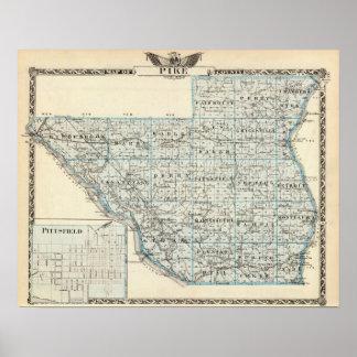 Karte von Pike County und von Pittsfield Poster