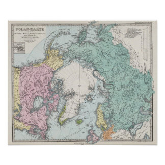 Karte von polaren Meeren Plakatdruck