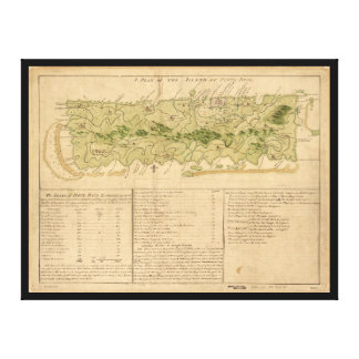 Karte von Porto Rico circa 1760 (Puerto Rico) Leinwanddruck