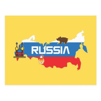 Karte von Russland mit weißem Blau und roter Fahne