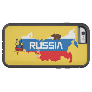 Karte von Russland mit weißem Blau und roter Fahne Tough Xtreme iPhone 6 Hülle