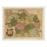 Karte von Russland und von Sibirien 1706 Poster