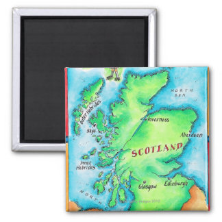 Karte von Schottland Quadratischer Magnet