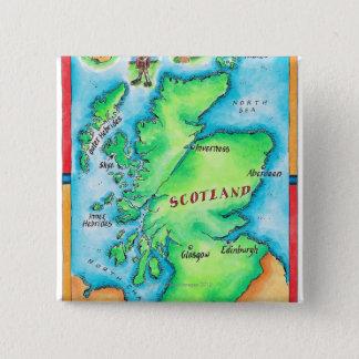Karte von Schottland Quadratischer Button 5,1 Cm