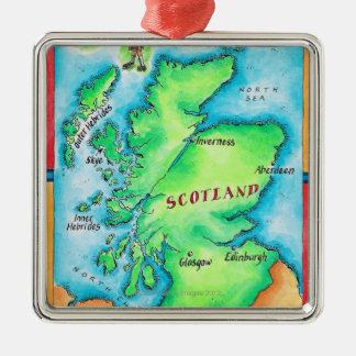 Karte von Schottland Silbernes Ornament