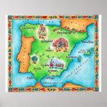 Karte von Spanien Plakatdrucke