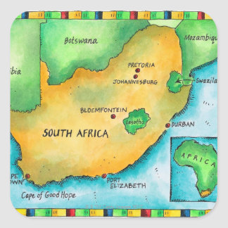 Karte von Südafrika Quadratsticker