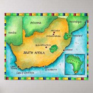Karte von Südafrika Poster