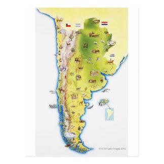 Karte von Südamerika Postkarte